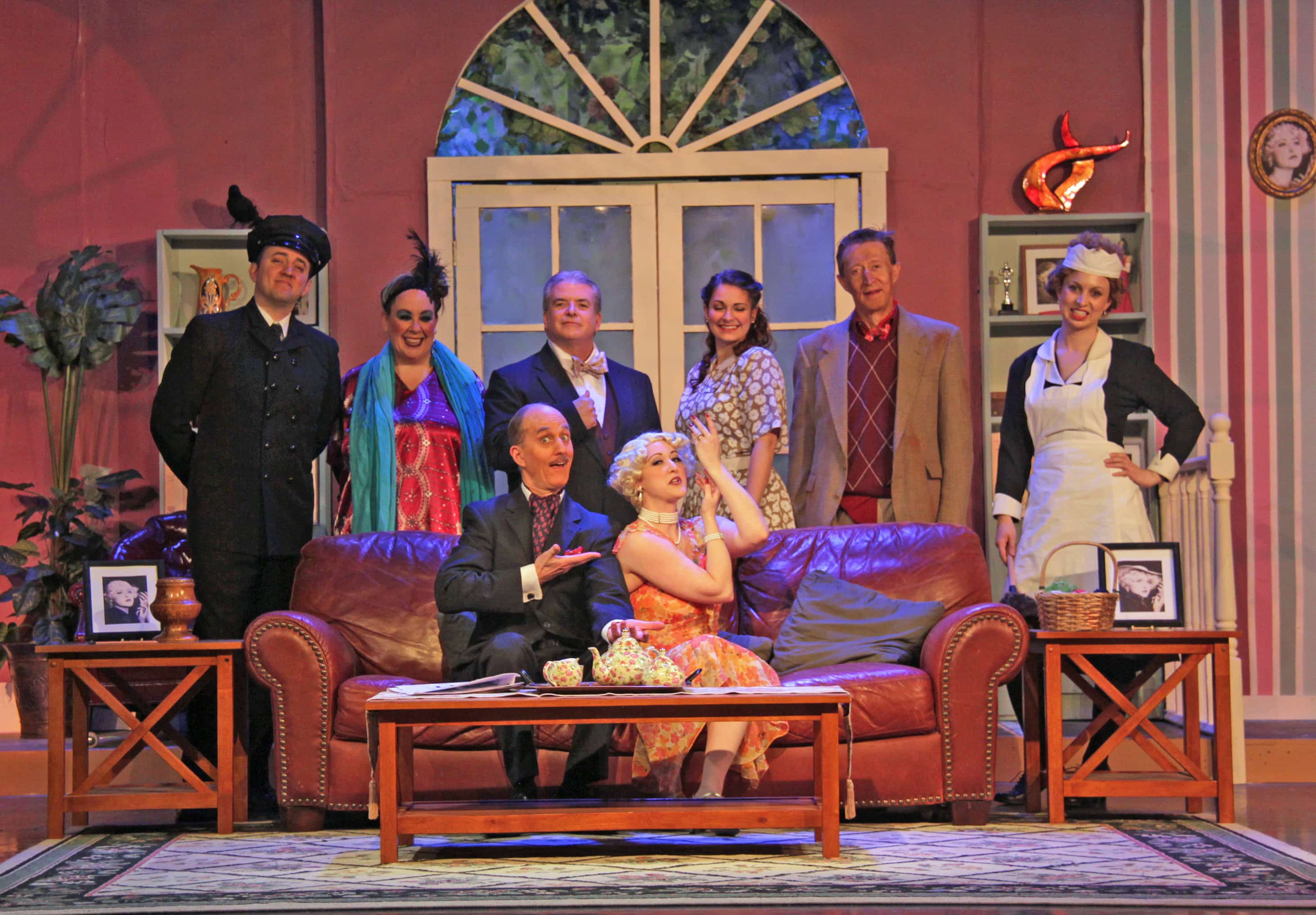 The cast of Death by Design, now playing at Aldersgate Church Community Theater (ACCT). Photo courtesy of ACCT.