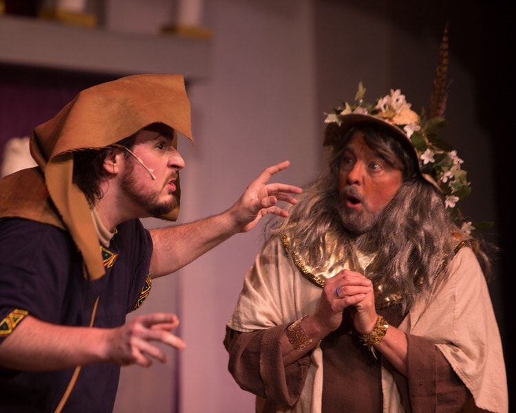 Bob Gudauskas (Pseudolus) and Todd Hochkeppel (Erroneous) in A Funny Thing Happened on the Way to the Forum. Photo by Russell Wooldridge.