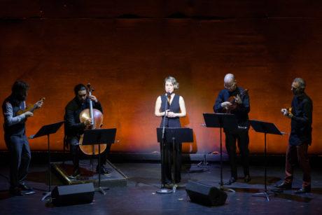 Caroline Shaw, accompanied by Brooklyn Rider, sings in DEMO by Damian Woetzel: Now. Photo by Teresa Wood.