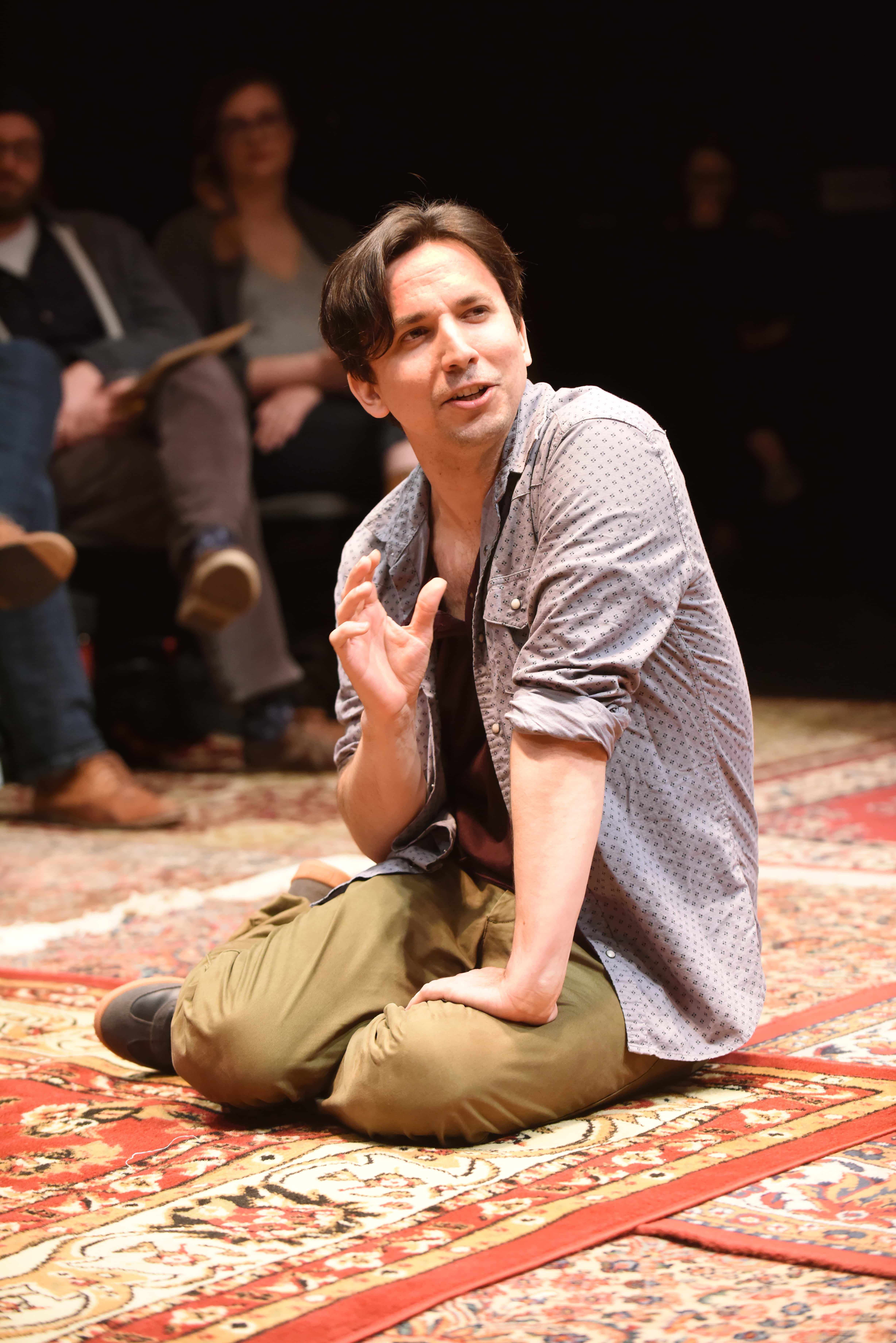 Alexander Strain as the Narrator in Every Brilliant Thing. Photo by Stan Barouh.