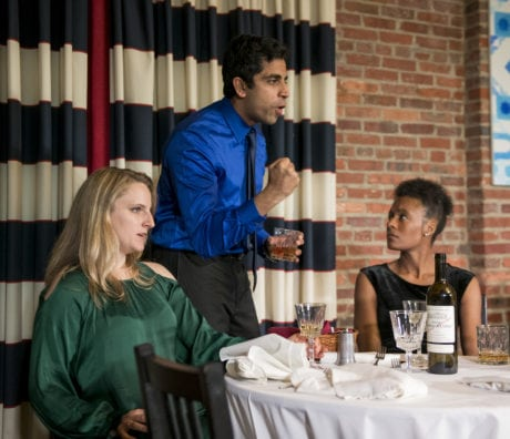 Left Katie Wicklund as Emily, Par Juneja as Amir, Right, Auyne' Boone as Jory in Compass Rose Theater's Disgraced by Ayad Akhtar.Photo credit Stan Barouh.