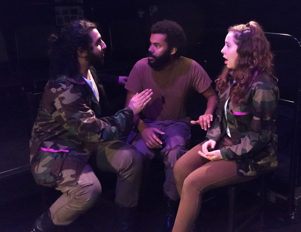 Peter Mikhail, Seth Andrew Watring, and Emma Hooks in Othello. Photo by Jeff Watts, American University.