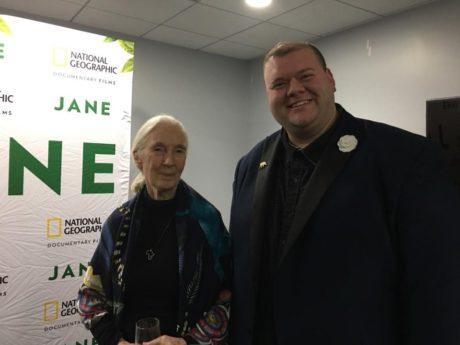 Jane Goodall and Justin Schmitz. Photo courtesy of Justin Schmitz.