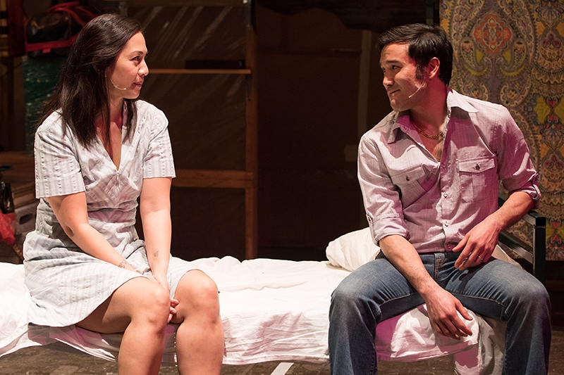 Regina Aquino (Tong) and Marc Delacruz (Quang) in Vietgone. Photo by Teresa Wood.