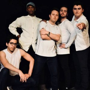 "The cast of ""Altar Boyz"" by Rockville Musical Theatre. From left to right: Luis ""Matty"" Montes as Abraham, Michael Mattocks Jr. as Mark, Justin Douds as Matthew, Nick Cox as Juan, and Evan Neufeld as Luke. Photo courtesy of Rockville Musical Theatre."