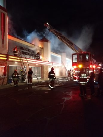 FIre fighters battle the March 2nd, 2018 fire at Adventure Theatre. Photo by Glen Echo Park Partnership for Arts and Culture.