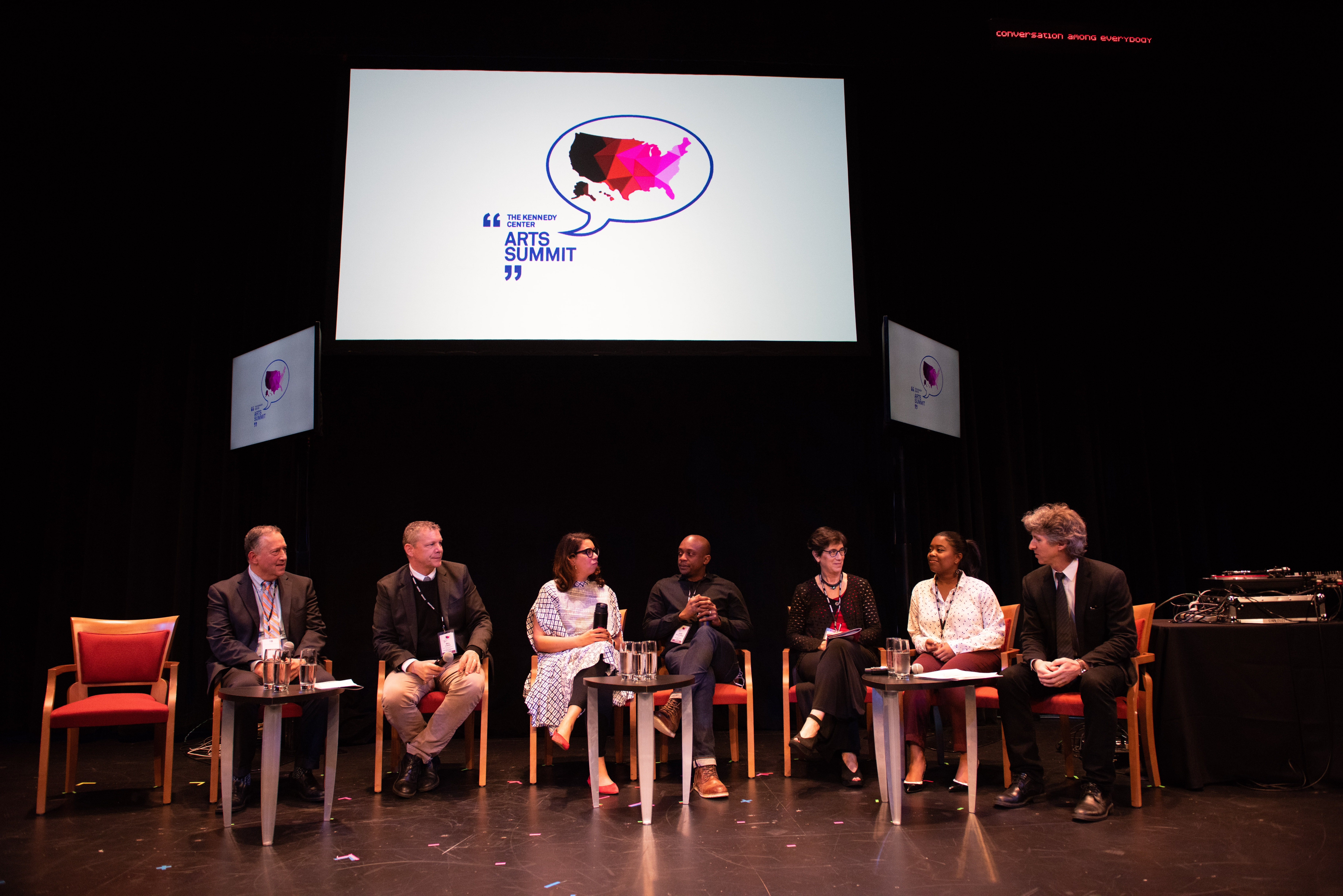 (L to R) – Jeremy Nobel, Bill O'Brien, Angelique Power, Hank Willis Thomas, Linda Nathan, Jasmine Babers, and Damian Woetzel at the 2018 Kennedy Center Arts Summit. Photo by Michael Butcher.