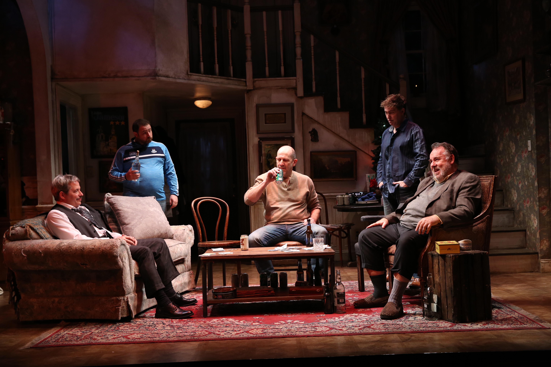 Matthew Broderick, Michael Mellamphy, Andy Murray, Tim Ruddy, and Colin McPhillamy. Photo by Carol Rosegg.