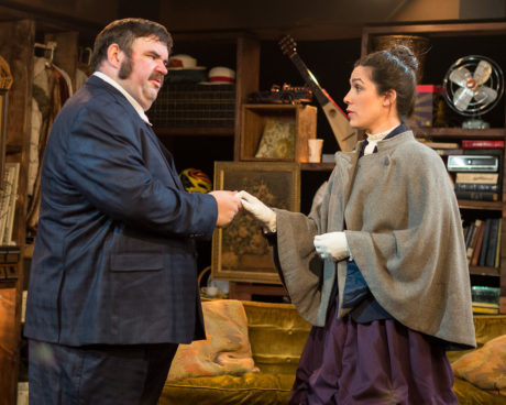 Michael Abendshein as Dr. John Watson and Jenn Robinson as Eliza Merrick. Photo by Harvey Levine.