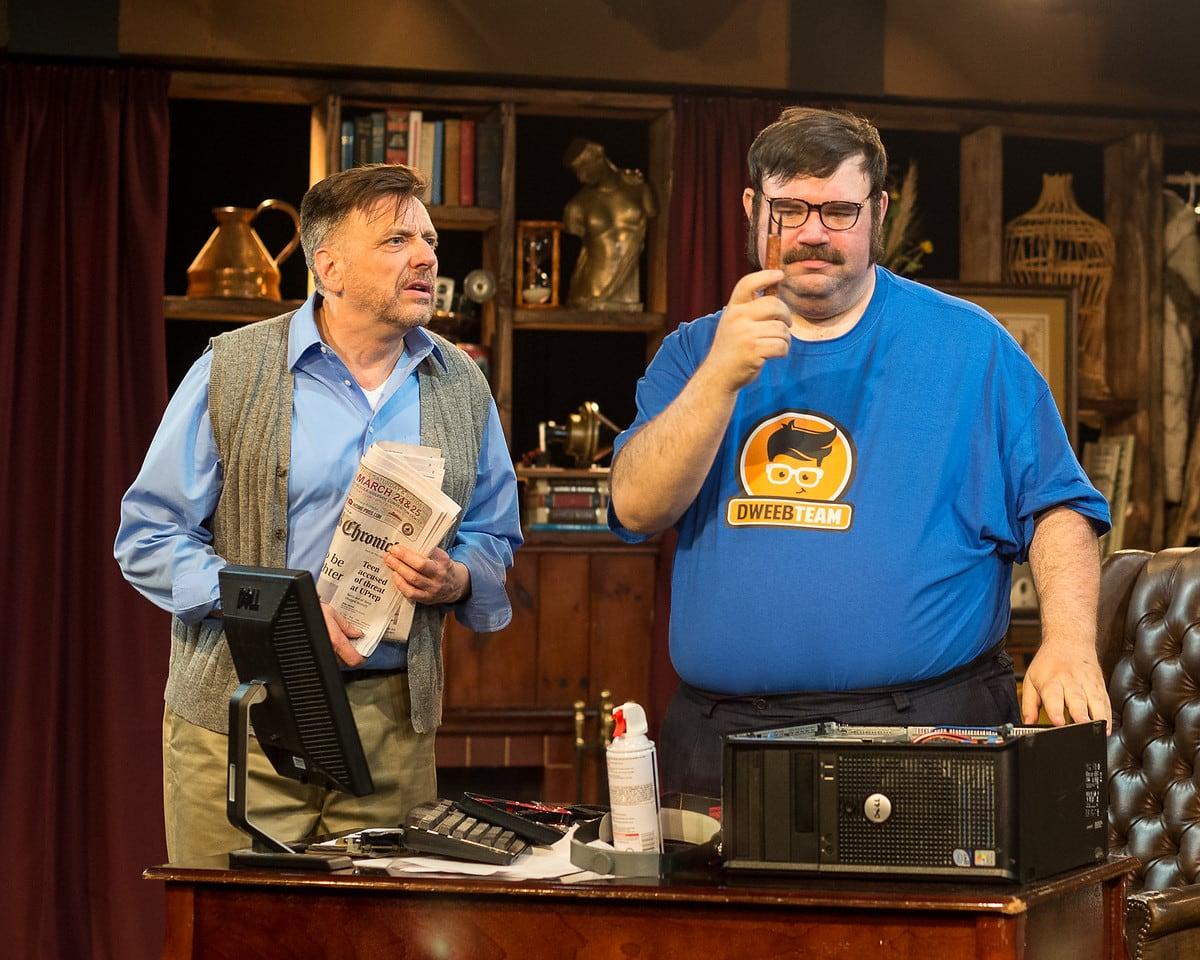 Mickey MacIntyre as Frank Merrick and Michael Abendshein as Josh Watson. Photo by Harvey Levine.