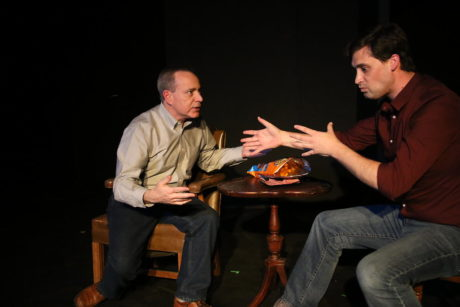 """Tom Piccin (left) and Jon Meeker (Right) in """"What's the Point?"""" written by Dan Collins and directed by Andrew Porter. Photo courtesy of Fells Point Corner Theatre."""