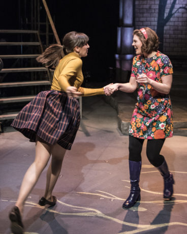 """Caroline Wolfson and Farrell Parker in """"Fly By Night"""" at 1st Stage. Photo by Teresa Castracane."""