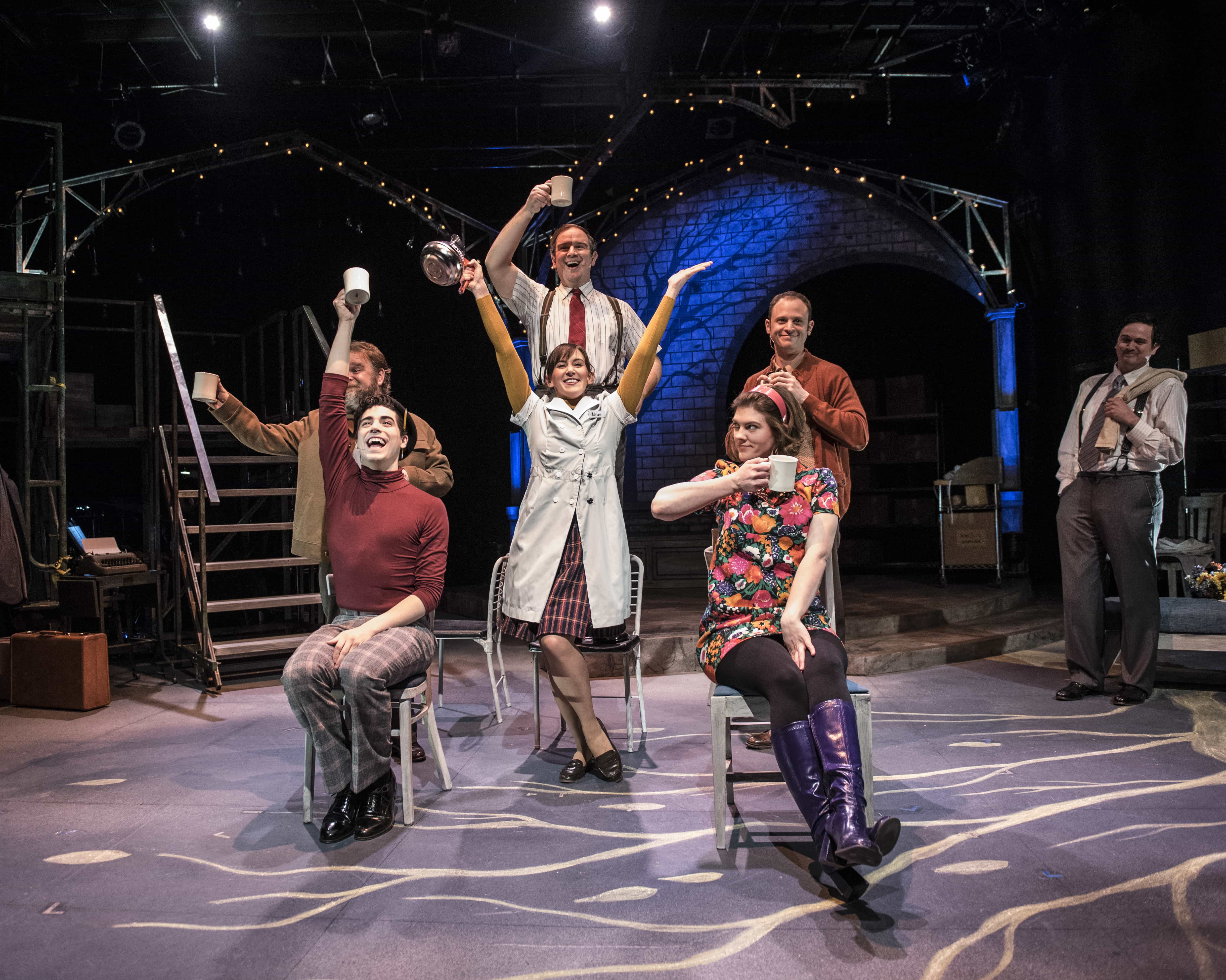 """Sasha Olinick, Tiziano D'Affuso, Ryan Manning, Caroline Wolfson, Aaron Bliden, Farrell Parker, and Jamie Smithson in """"Fly By Night"""" at 1st Stage. Photo by Teresa Castracane."""