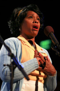 Karen Malina White as Camae in L.A. Theatre Works' The Mountaintop. Photo by Kirk Richard Smith.