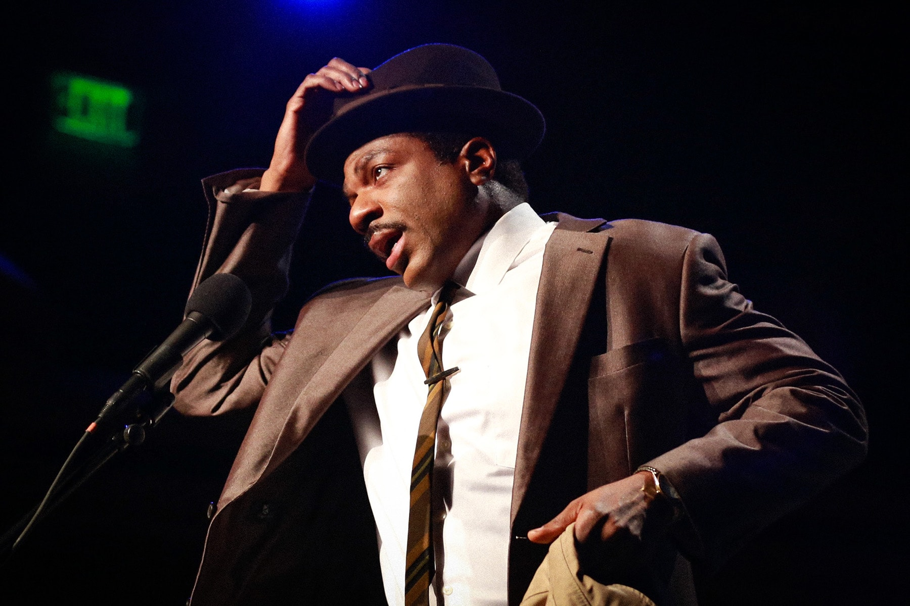 Gilbert Glenn Brown as Dr. Martin Luther King Jr. in L.A. Theatre Works' The Mountaintop. Photo by Kirk Richard Smith.