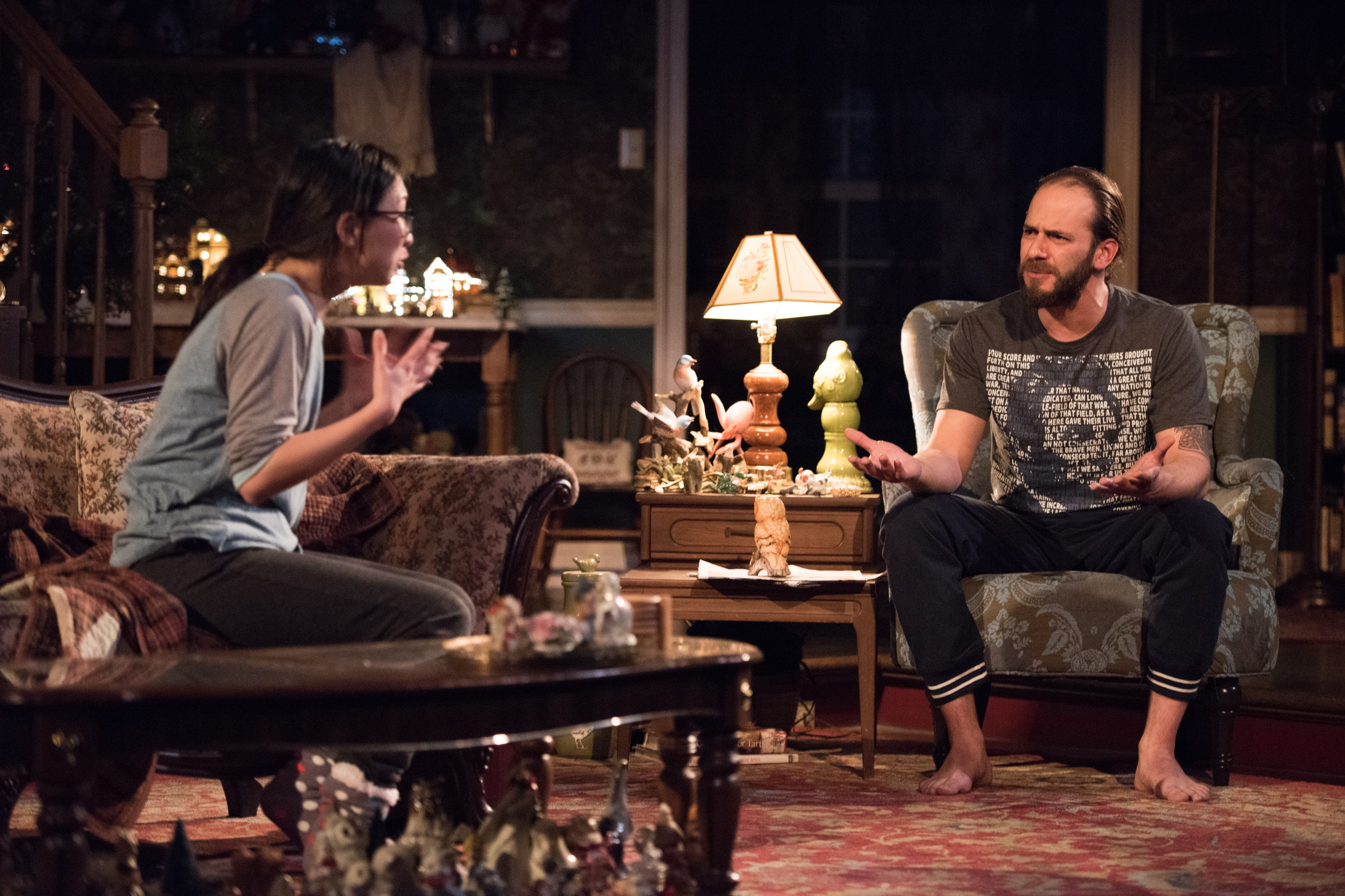 Anna Moon and Jonathan Feuer in John at Signature Theatre. Photo by Margot Schulman.