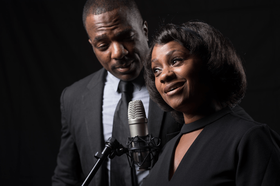 Gilbert Glenn Brown and Karen Malina White in The Mountaintop. Photo courtesy of L.A. Theatre Works.