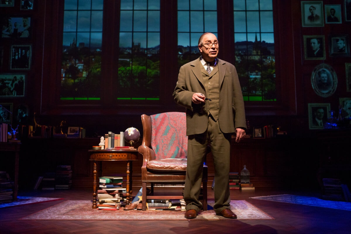 Max McLean as C.S. Lewis in The Most Reluctant Convert. Photo courtesy of Fellowship for Performing Arts.