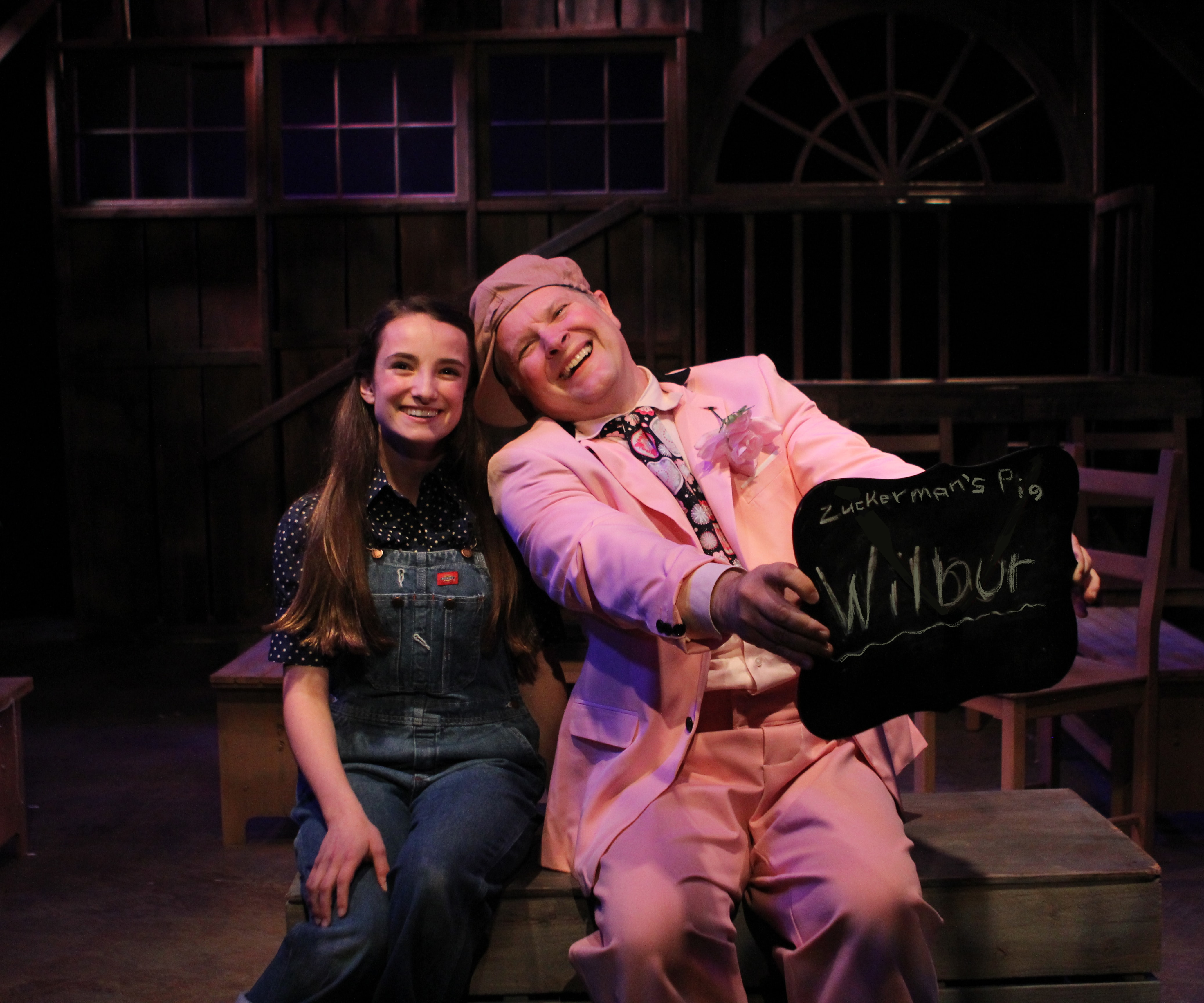 Sophia Manicone (Fern) and Will Stevenson (Wilbur) in Charlotte's Web, now playing at Creative Cauldron. Photo by Noah Taylor.
