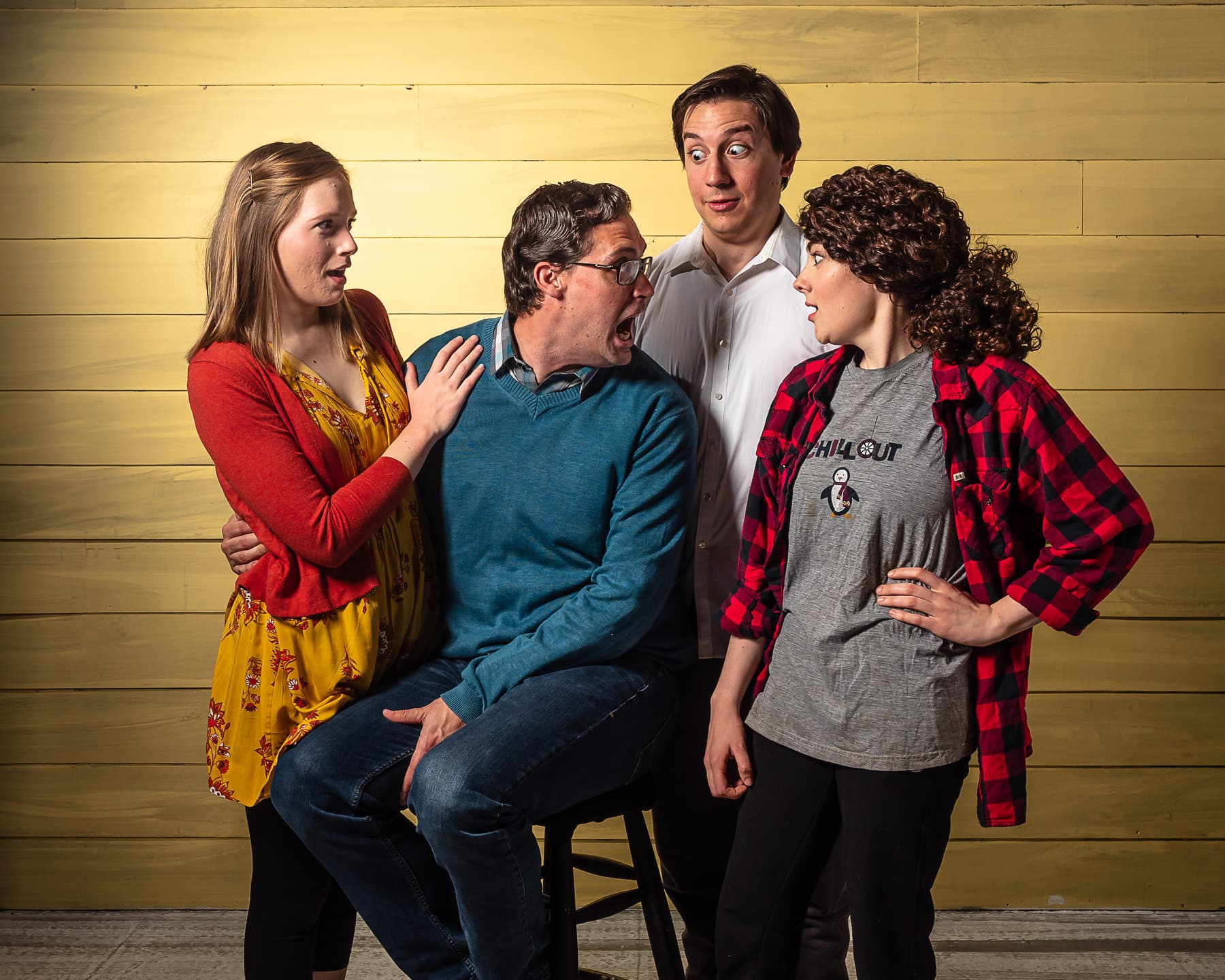 Full Cast (L to R): Molly Mayne as Melody, Jon Meeker as Liam, Michael Kranick as Jonah and Anna Steuerman as Daphna (Photo Credit: Bruce F. Press Photography)