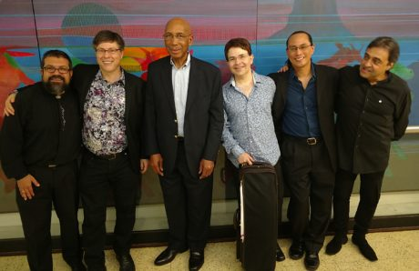 L-R: Carlos Cesar Rodriguez (piano), Joel Phillip Friedman (composer), Ephriam Wolfolk (double bass), Leonid Sushansky (violin/artistic director), Leland Nakamura (drums) and Julian Milkis (clarinet), following the National Chamber Ensemble's concert Today's Classical and Jazz Masters. Photo by Robert Jansen.