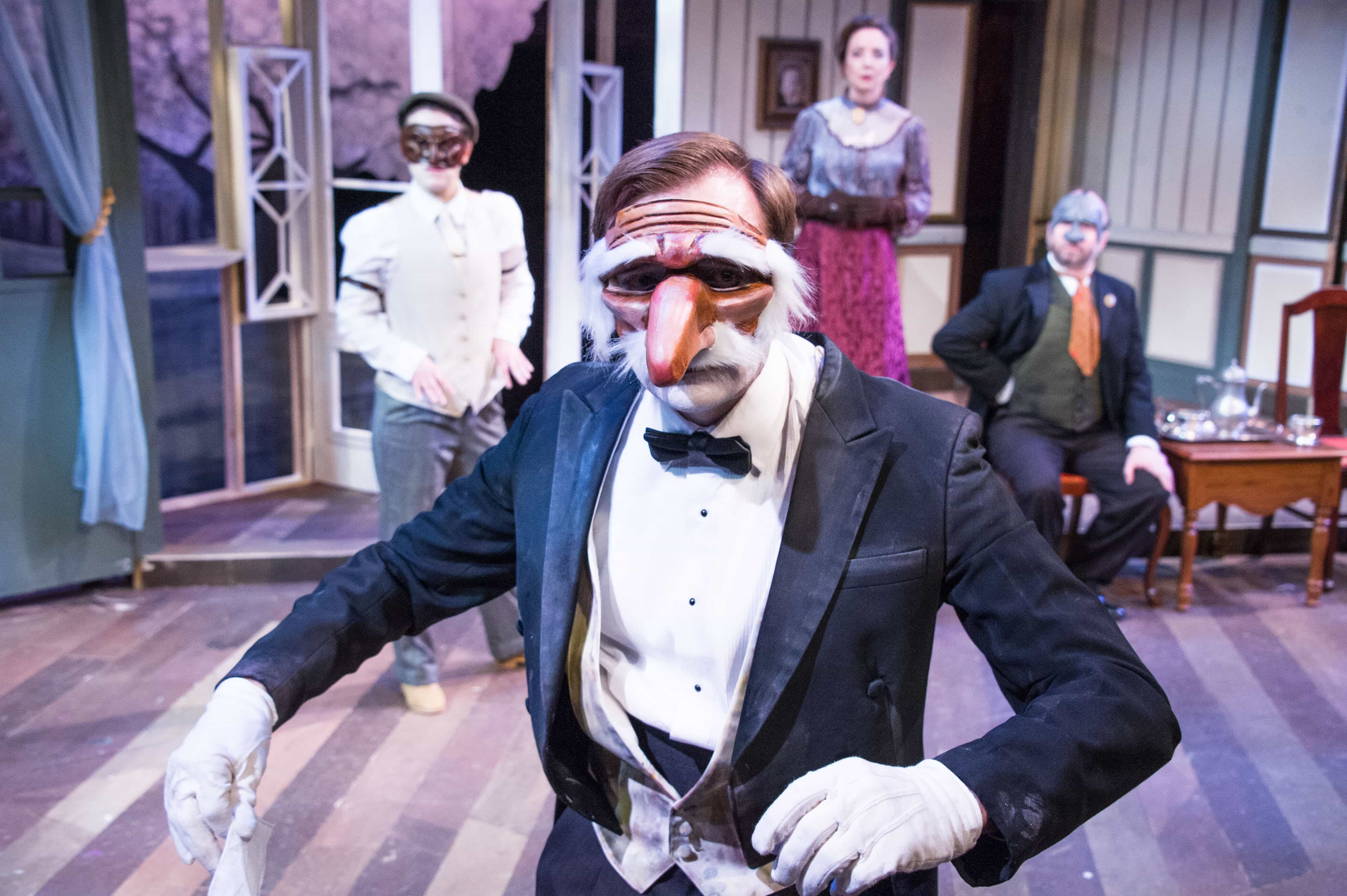 Jack Novak (foreground), Kathryn Zoerb, Sara Barker, and Jesse Terrill (background) in The Cherry Orchard. Photo by C. Stanley Photography.