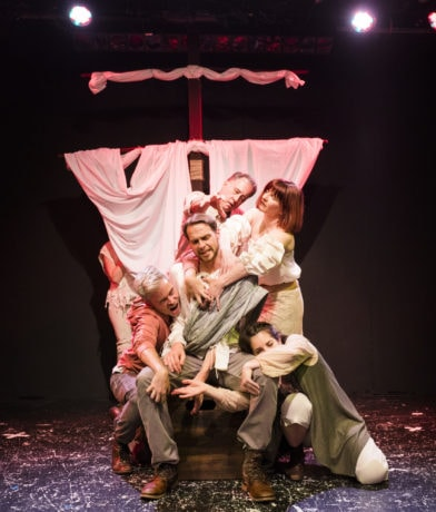 Grant Cloyd (center), Dave Gamble, Jennifer J. Hopkins, Jenna Berk, and Jon Reynolds (clockwise from top) in Pericles. Photo by Mark Williams Hoelscher.