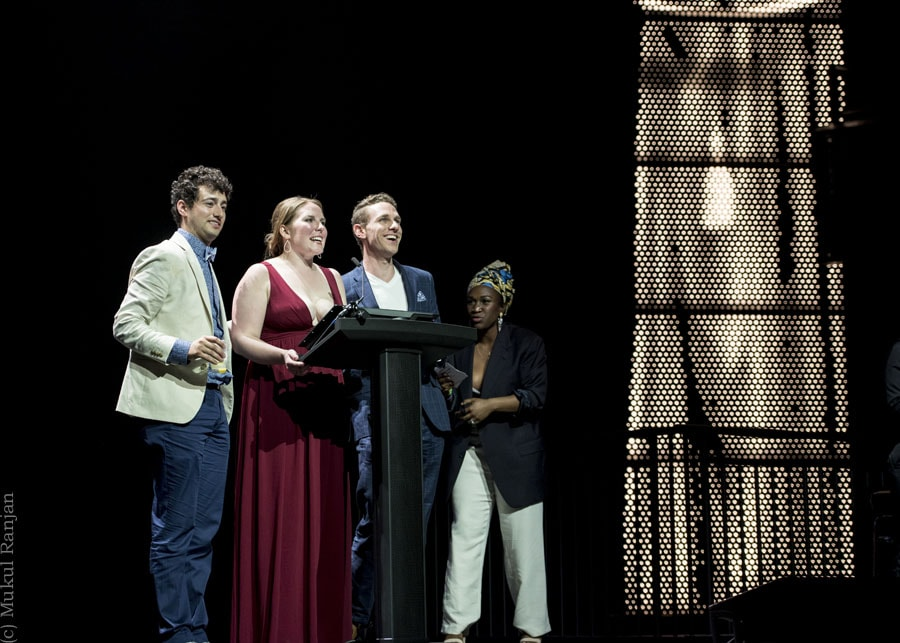 Jimmy Mavrikes, Beth Amman, and Michael Windsor of Monumental Theatre Company accept the John Aniello Award for Outstanding Emerging Theatre Company. Photo by Mukul Ranjan Photography.