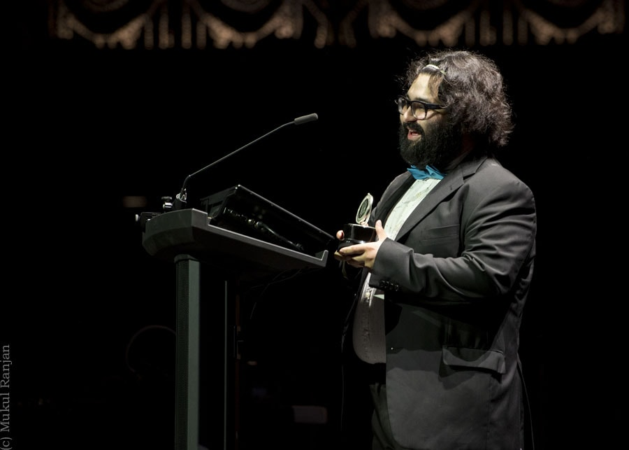 """Walter """"Bobby"""" McCoy accepting his award for Oustanding Music Direction (Helen) for In the Heights at GALA Hispanic Theatre. Photo by Mukul Ranjan Photography."""
