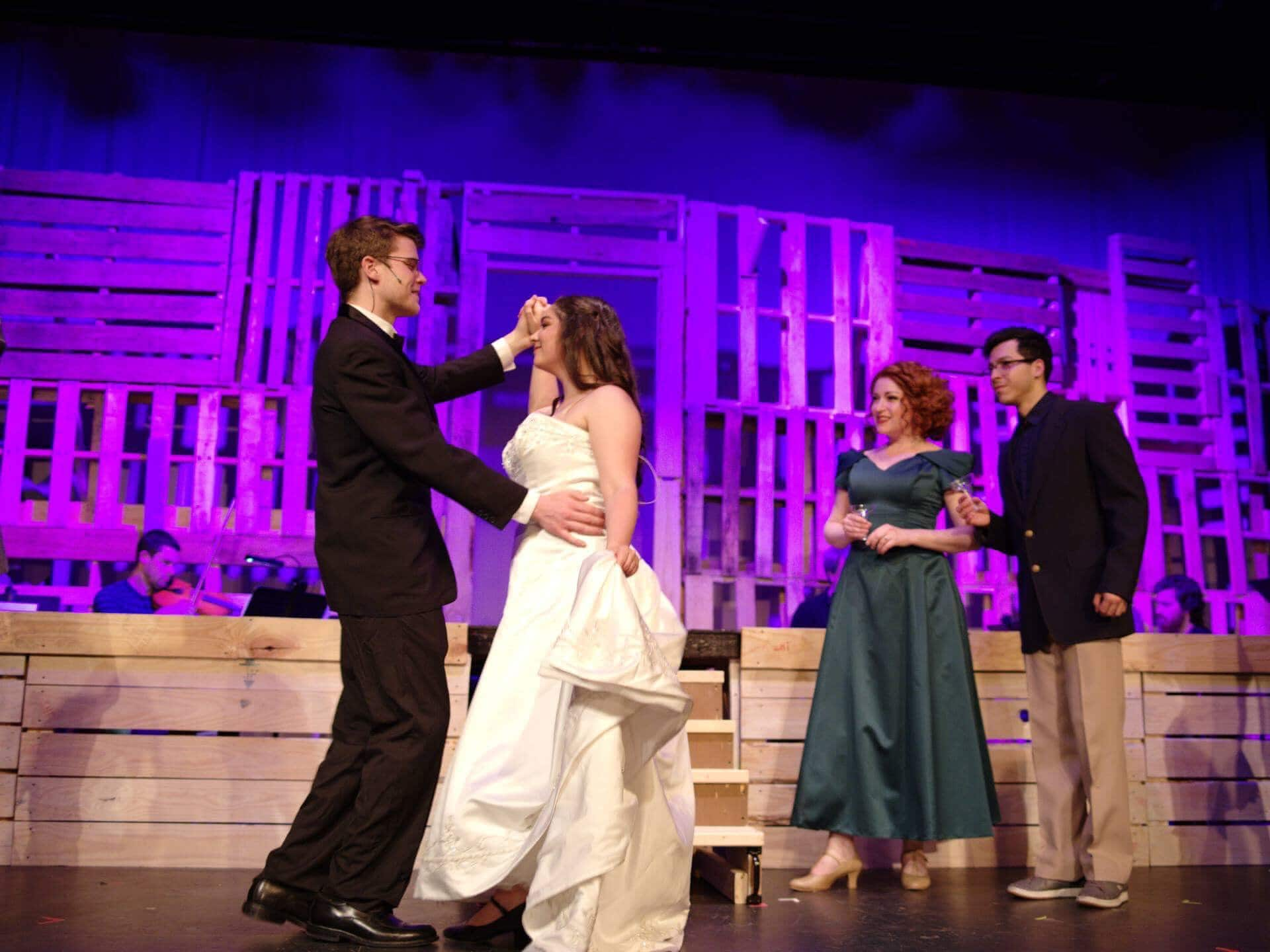 """Michael Nugent, Missy Spangler, Emily Mudd, and Luis """"Matty"""" Montes in Big Fish. Photo by John Cholod."""