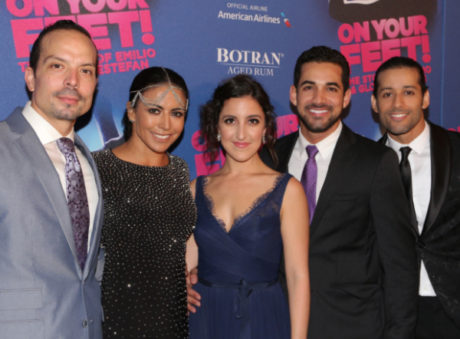 Marcos Santana, Liz Ramos, Natalie Carruncho, Hector Maisonet, and Luis Salgado during the On Your Feet! opening on Broadway. Photo courtesy of the artists.