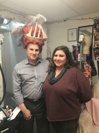 Wig Designer Dori Beau Seigneur with DCMTA writer (and wig model) David Siegel. Photo courtesy of Shakespeare Theatre Company.