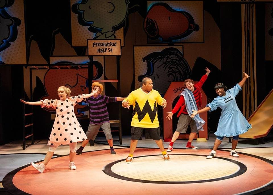 The cast of You're a Good Man, Charlie Brown, now playing at Imagination Stage. Photo by Margot Schulman.