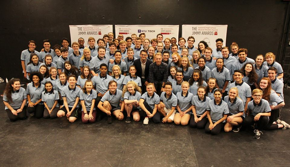 2018 Jimmy® Awards nominees with guest speakers Benj Pasek and Justin Paul. Photo by Henry McGee/NHSMTA.