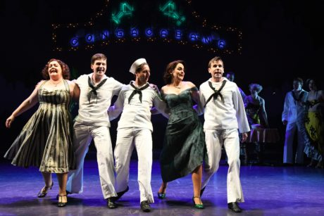 Tracy Lynn Olivera (Hildy Esterhazy), Sam Ludwig (Ozzie), Rhett Guter (Gabey), Rachel Zampelli (Claire De Loone), and Evan Casey (Chip) in On the Town at Olney Theatre Center. Photo by Stan Barouh.