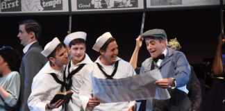 Evan Casey (Chip), Sam Ludwig (Ozzie), Rhett Guter (Gabey), and Bobby Smith (Bill Poster) in On The Town, now playing at Olney Theatre Center. Photo by Stan Barouh.