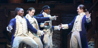 The company of Hamilton (performers may not be those performing in Washington, DC). Photo by Joan Marcus.