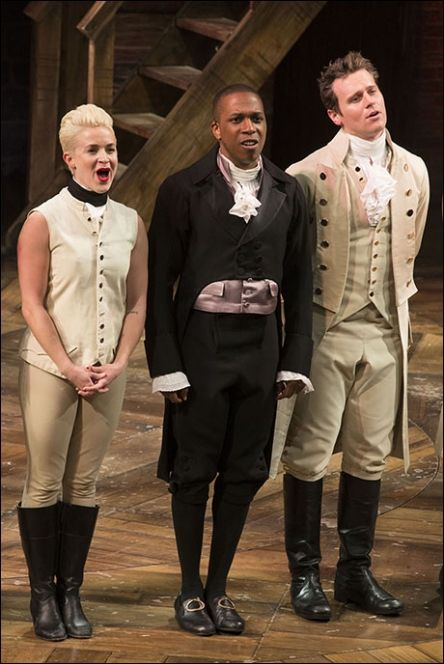 Betsy Struxness onstage in Hamilton with Leslie Odom, Jr. and Jonathan Groff.