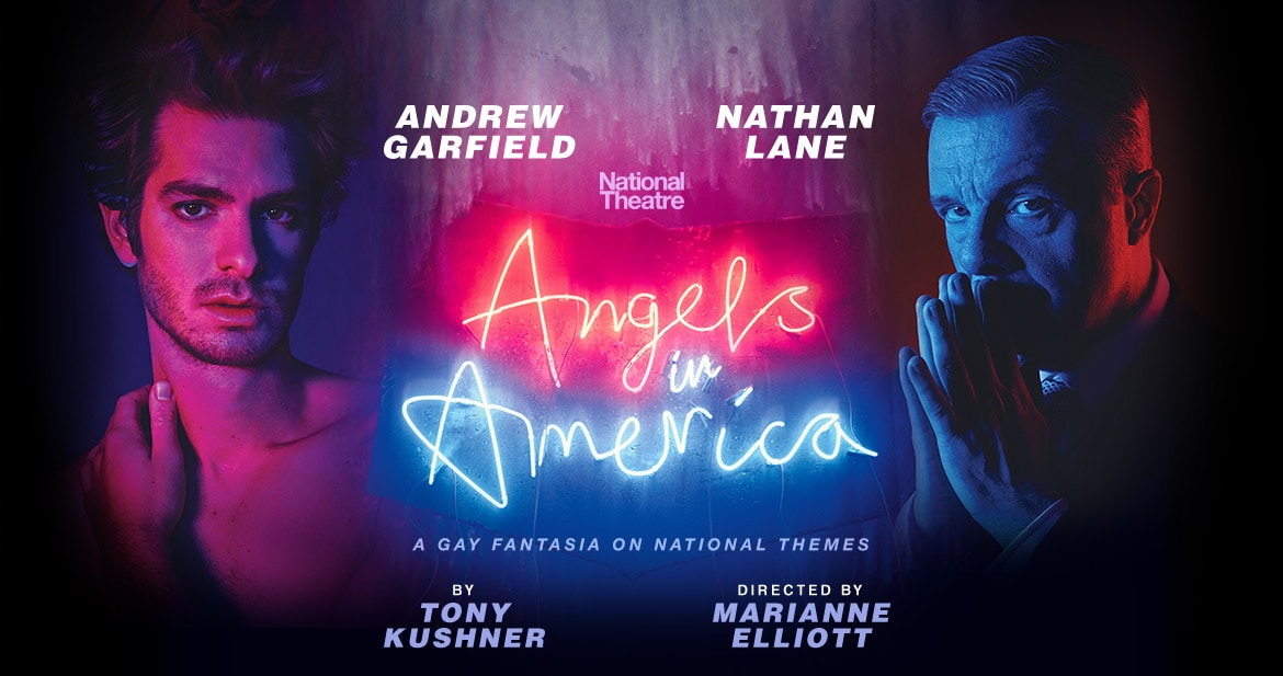Andrew Garfield and Nathan Lane in a promotional image for Angels in America.