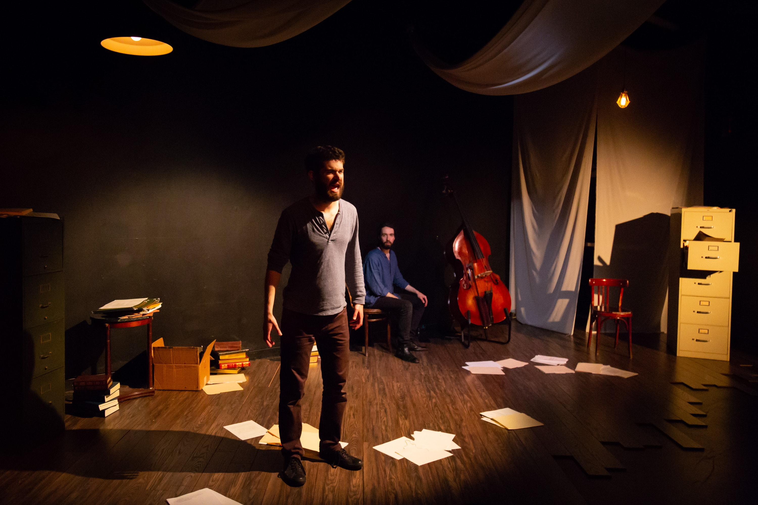 Iason Togias as the Poet and Matt Chilton as the Muse in An Iliad. Photo by Ryan Maxwell.