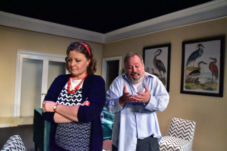 Liz Mykietyn as Millie Michaels and Dave Wright as Marvin Michaels in the Providence Players production of Neil Simon's California Suite. Photo by Chip Gertzog, Providence Players.