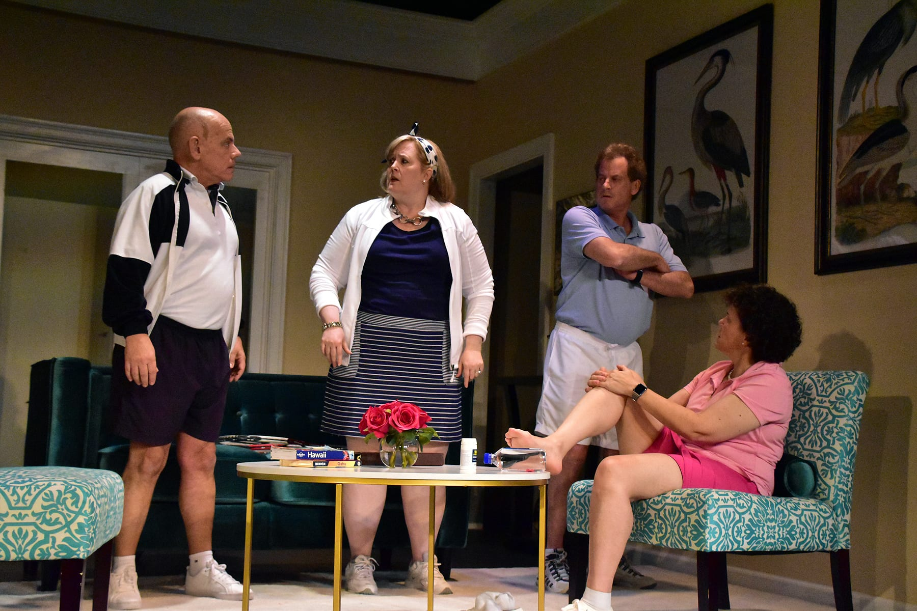 L-R: Mario Font, Laura Champe Mitchell, Lou Lehrman, and Allison Turkel are the visitors from Chicago in the Providence Players production of Neil Simon's California Suite. Photo by Chip Gertzog, Providence Players.