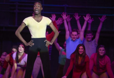Anthony Cosby as Richie and the cast of A Chorus Line, now playing at Riverside Center for the Performing Arts. Photo by Mike Morones.