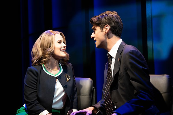 (L to R) Mamie Parris (Ellen Mitchell) and Drew Gehling (Dave Kovic/President Bill Mitchell) in Dave, running July 18-August 19, 2018 at Arena Stage at the Mead Center for American Theater. Photo by Margot Schulman.