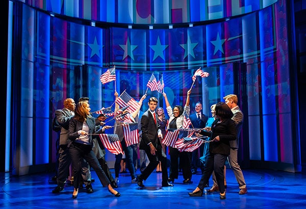 Drew Gehling (Dave Kovic/President Bill Mitchell) and the cast, in Dave, running July 18-August 19, 2018 at Arena Stage at the Mead Center for American Theater. Photo by Margot Schulman.