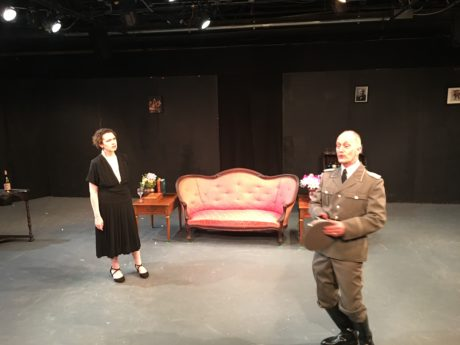 Margherita Sarfatti (Emily Canavan) and Major Klemmer (James McDaniel) in Margherita, now playing at the Greenbelt Arts Center. Photo by Sam Simon.