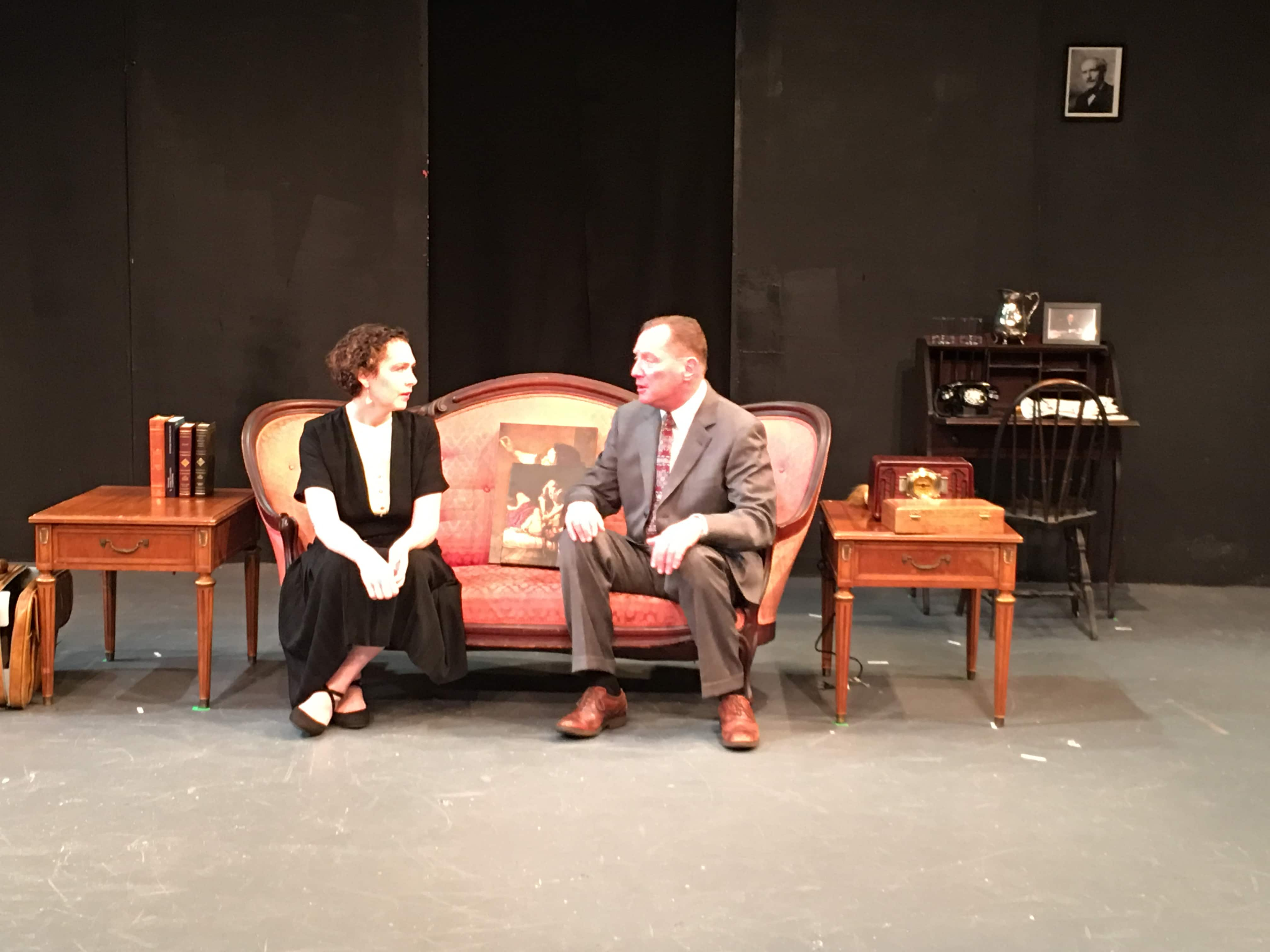 Margherita Sarfatti (Emily Canavan) and Benito Mussolini (Bob Cohen) in Margherita, now playing at the Greenbelt Arts Center. Photo by Sam Simon.