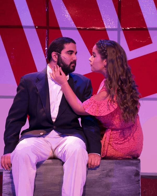 Rishabh Bajekal (Jesus of Nazareth) and Thea Simpson (Mary Magdalene) in Jesus Christ Superstar, now playing at the Little Theatre of Alexandria. Photo by Matt Liptak.