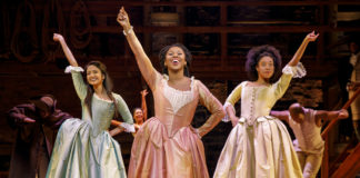 Shoba Narayan, Ta'Rea Campbell, and Nyla Sostre in the second National Tour of Hamilton. Photo by Joan Marcus.