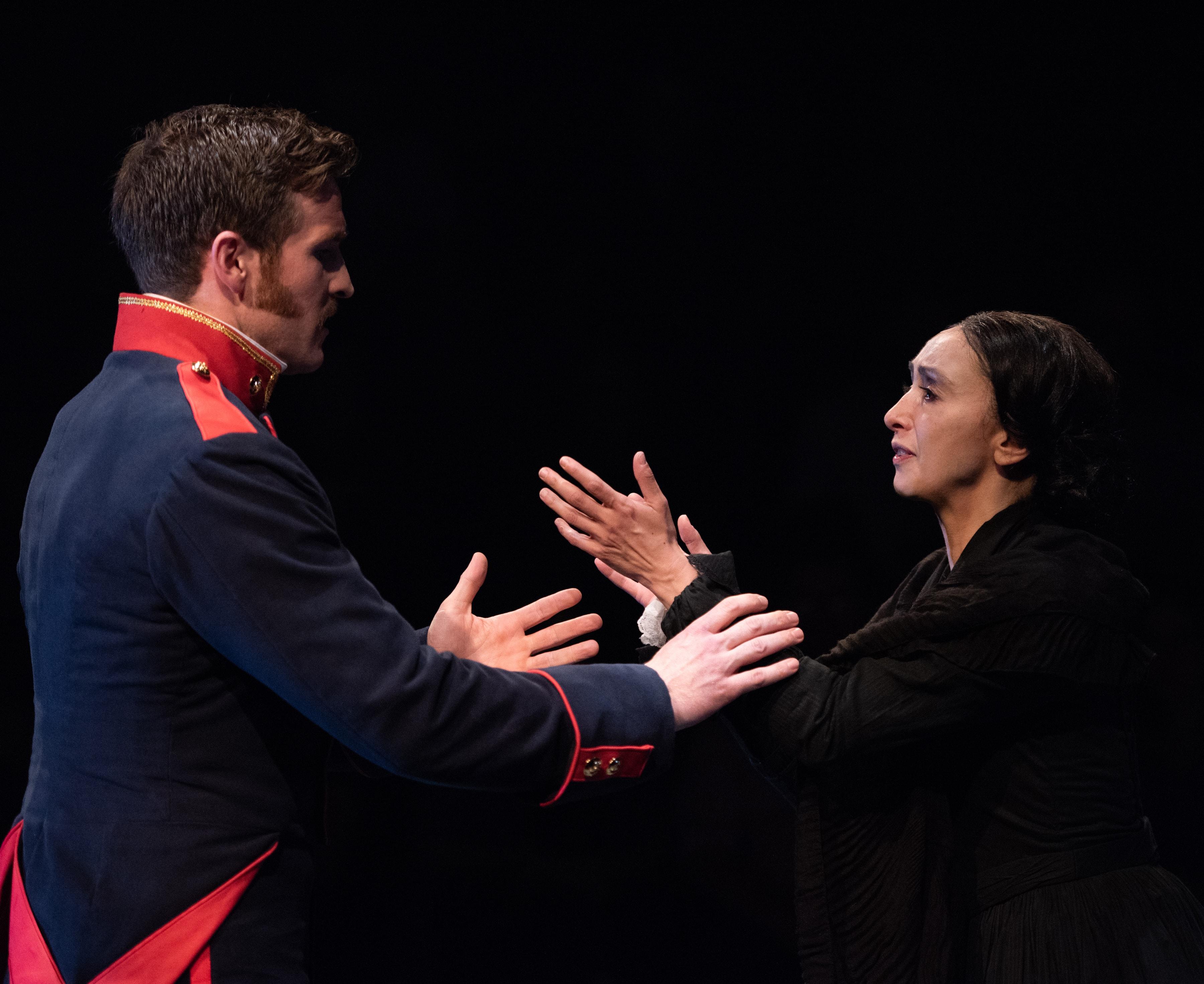 Claybourne Elder (Giorgio) and Natascia Diaz (Fosca) in Passion at Signature Theatre. Photo by Margot Schulman.